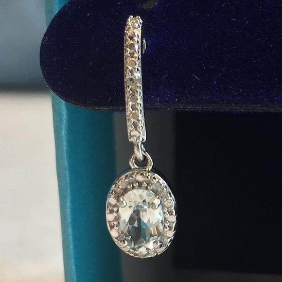 073e4561c Jewelry   34 Ct Aquamarine Diamond Oval Drop Earrings Nwt   Poshmark